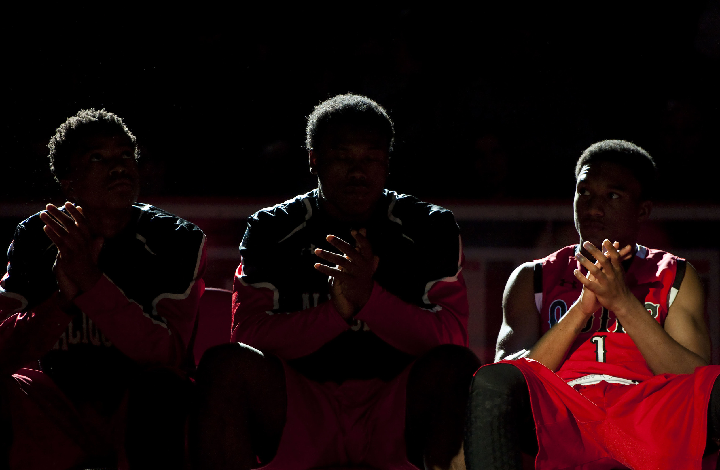 Aliquippa's Jassir Jordan (1) is lit before announcements of teams during the PIAA Class AA boys basketball championship on Saturday, March 19, 2016 at the Giant Center in Hershey, Pa. Aliquippa won 68-49.