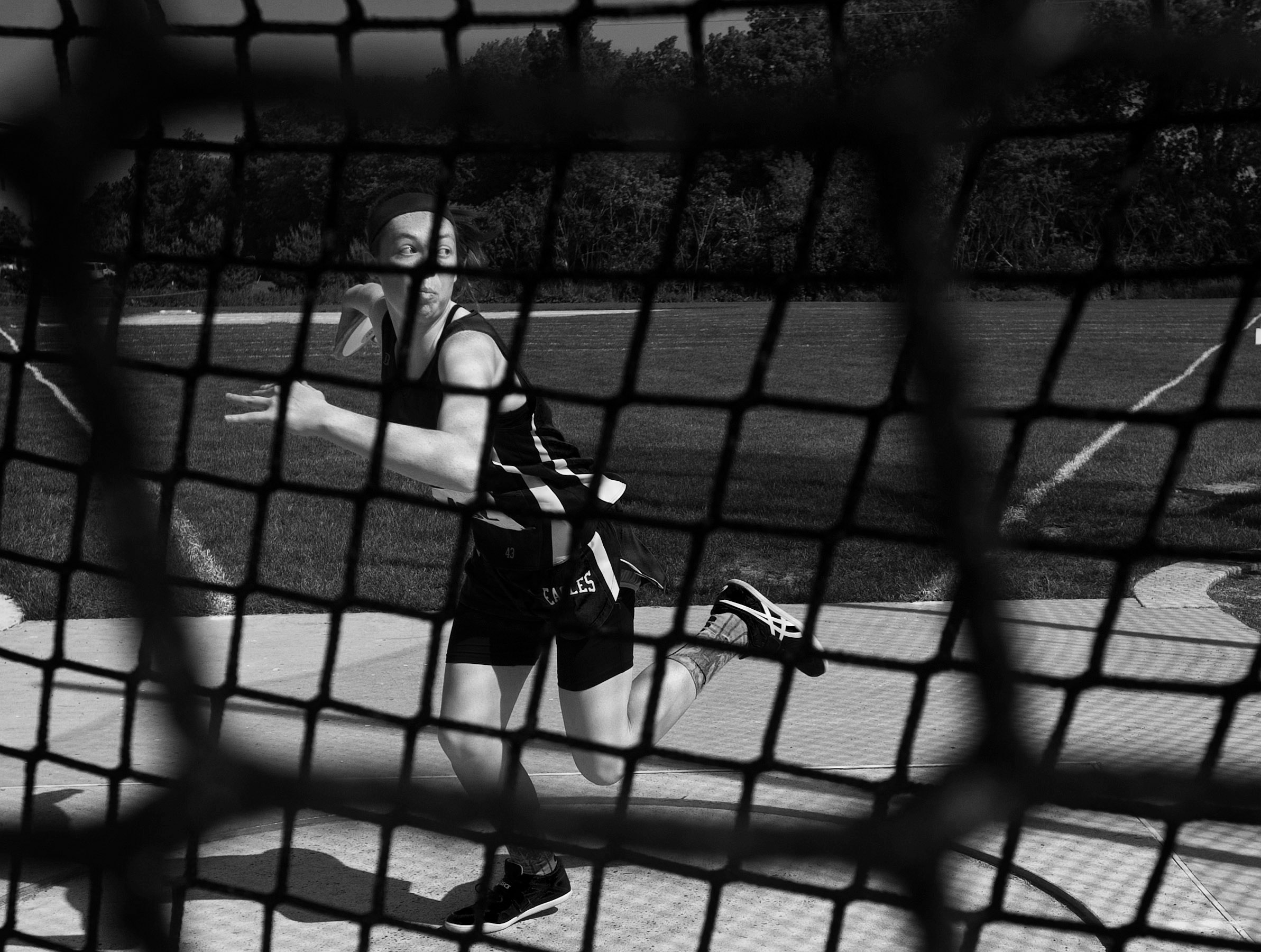 South Park's Maura Huwalt warms up her discus throw during the Class AA PIAA track and field championships at Shippensburg University on Friday, May 27, 2016 in Shippensburg.