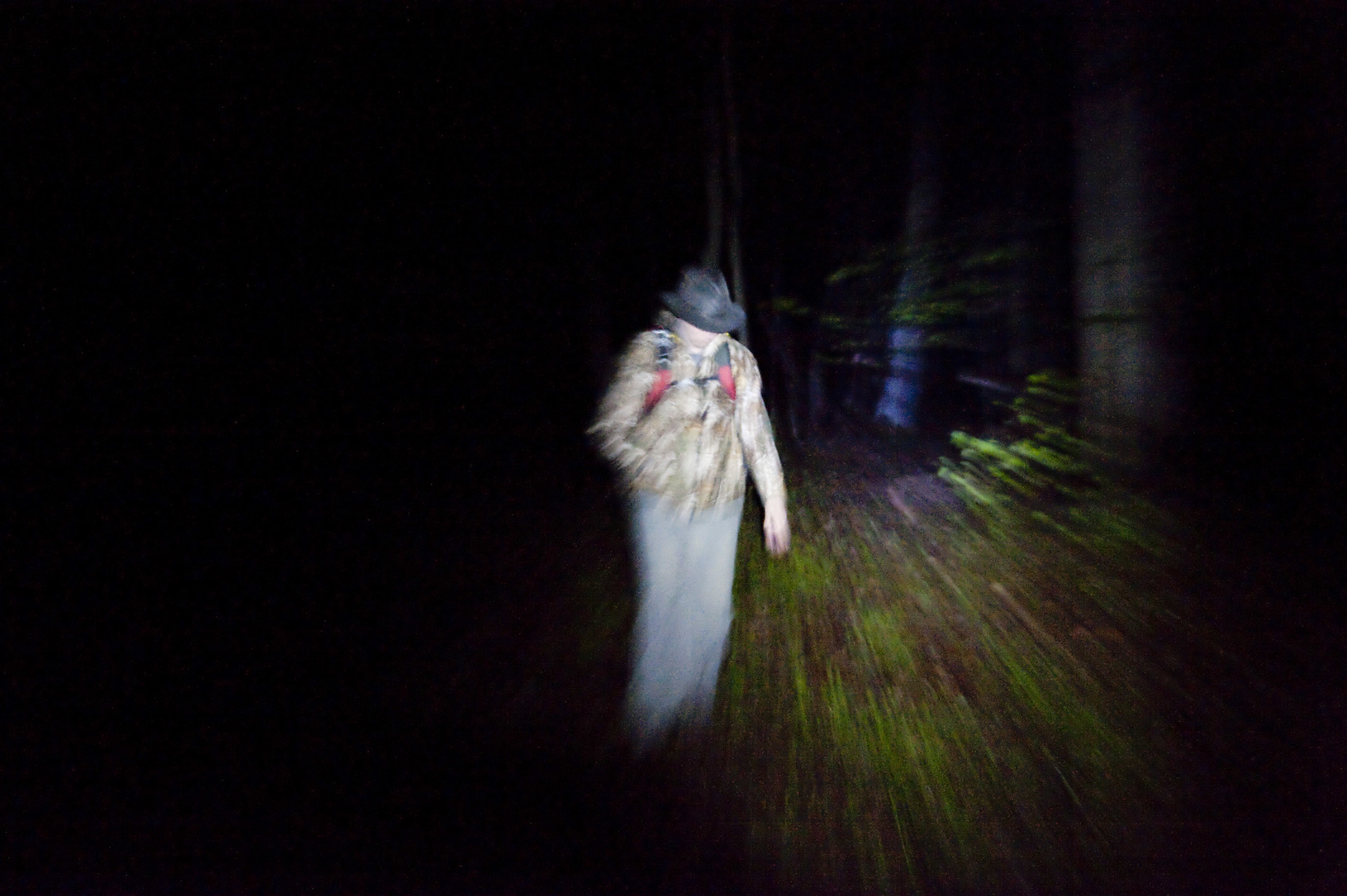 Ohio anomalous researcher and ParaNexus Executive Director Brian Parsons listens to frogs' ceased croaking, which could be a sign of something large in the woods, while on a night research hike during the 2016 Pennsylvania Bigfoot Camping Adventure at Benner's Meadow Run campground near Farmington on Friday, May 6. The Farmington area has been known as a Bigfoot hotbed with numerous encounters reported by campers, hunters and locals.