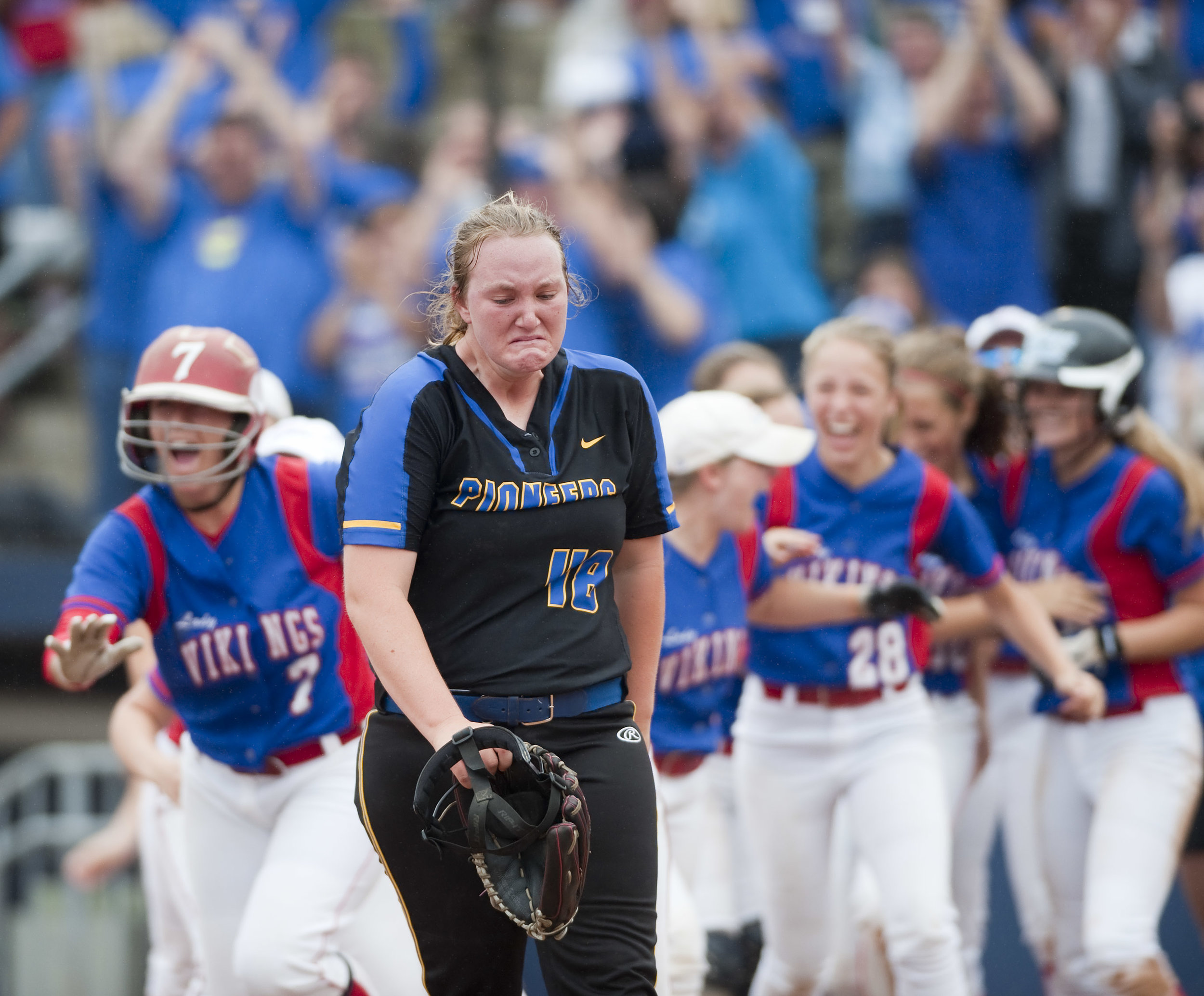 West Greene's Madison Renner becomes emotional as Williams Valley celebrates their win during the Class A PIAA Softball Championships Thursday, June 16, 2016 at Penn State University. Williams Valley won 3-2.