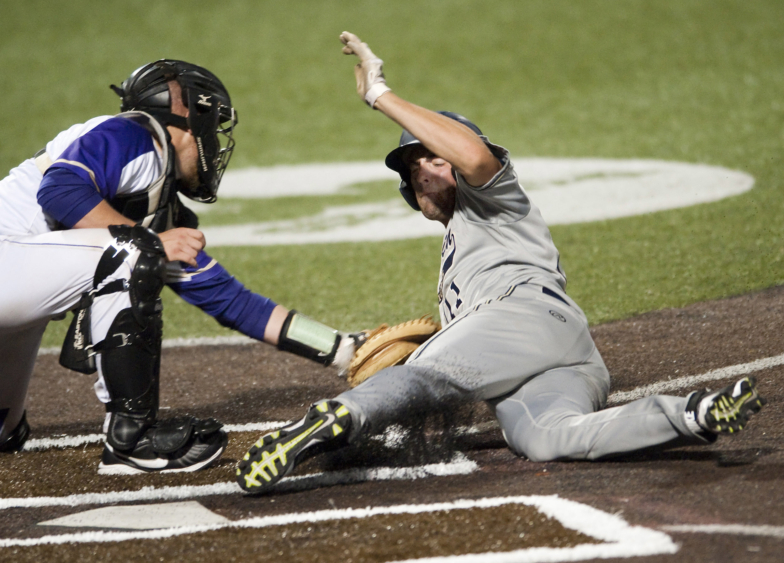 Norwin's Reno Rainey is tagged out at home plate by Plum's Michael Anderson in the WPIAL Class AAAA championship game on Wednesday, June, 2016, at Consol Energy Park in Washington. Norwin won 7-3.
