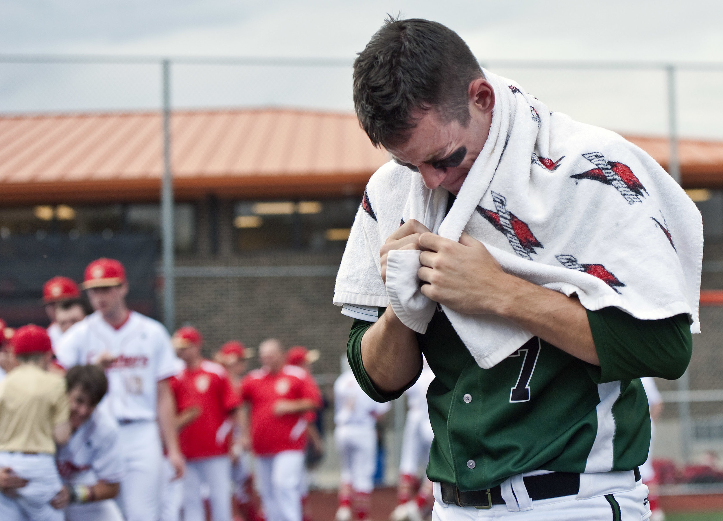 Riverside's Michael Boswell hangs his head after losing to Bishop McCort during a PIAA semifinal baseball game on Monday, June 13, 2016 at Greater Latrobe High School. Riverside lost 1-0.