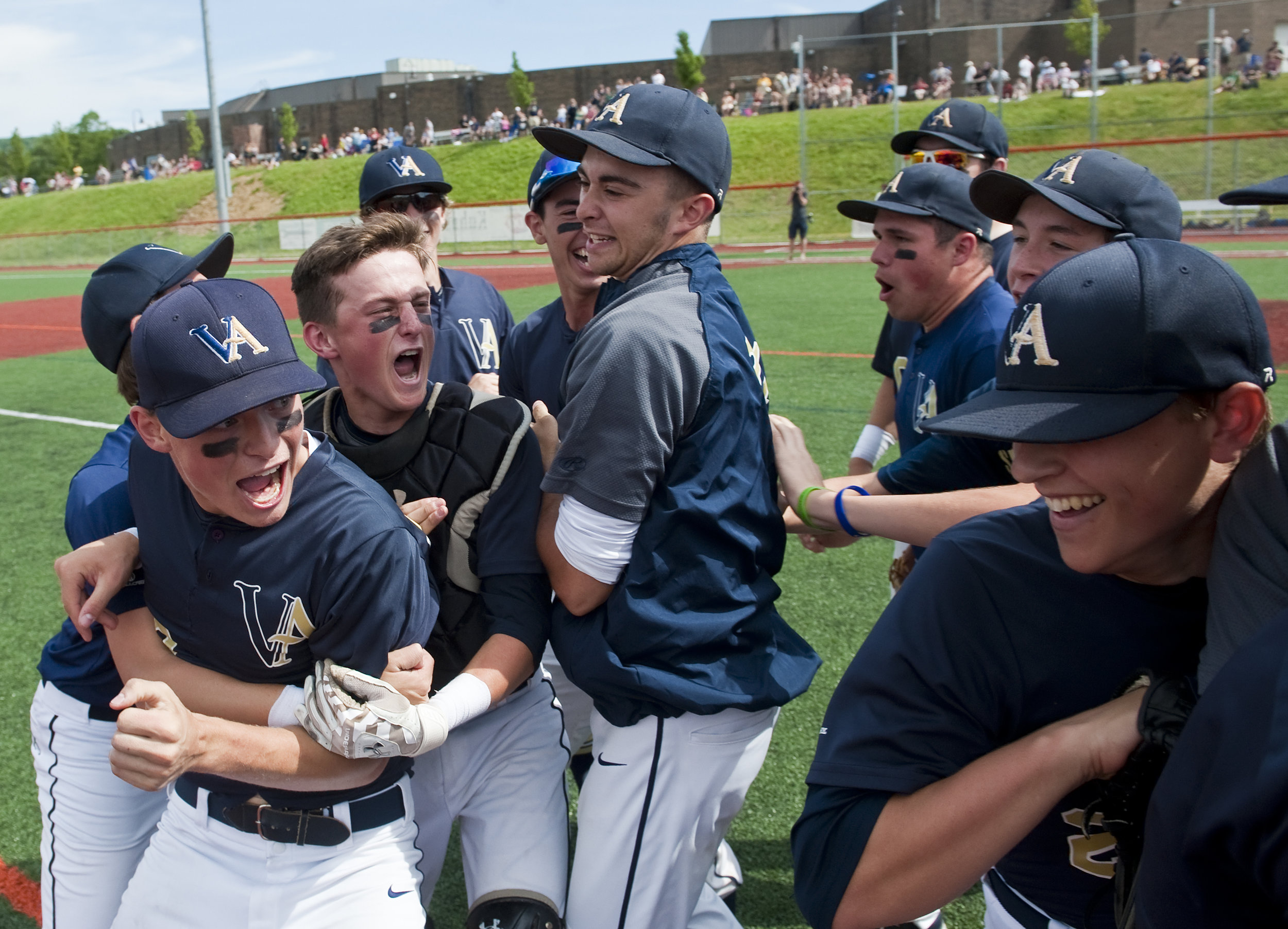 Vincentian Academy celebrates their win over Serra Catholic during a PIAA semifinal baseball game on Monday, June 13, 2016 at Greater Latrobe High School. Vincentian Academy won 2-0.