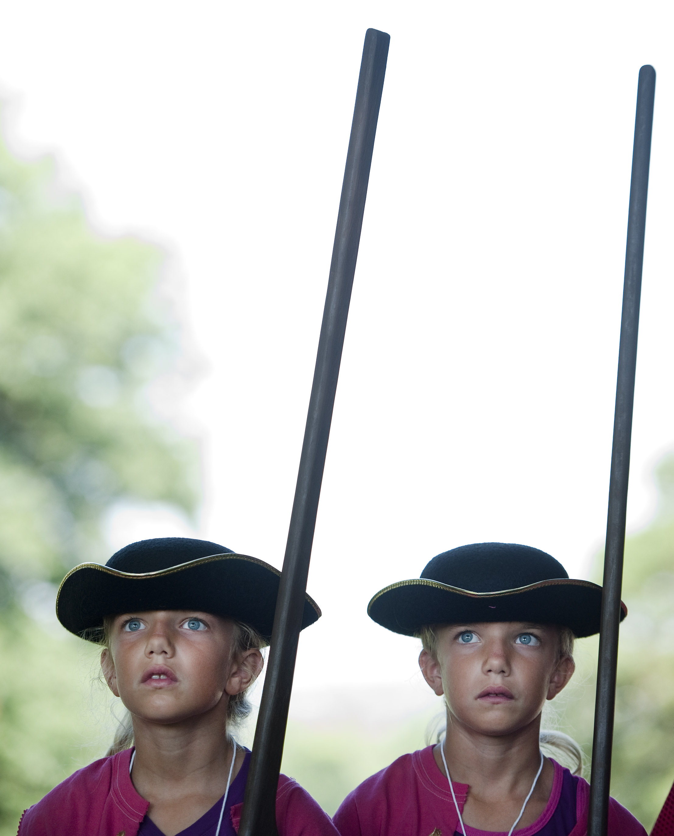 Olivia Weishaar (left) stands at attention with her twin sister Hanna, both 8 of Harrison City, while taking commands from Brian Harris, reenacting a private of Ourry's 60th Royal American Regime, during Living History Day Camp at Bushy Run Battlefield on Tuesday, July 12, 2016. At the camp, kids discovered military camp life as it was in the 1760s of British soldiers and colonial civilians while learning the history behind the Battle of Bushy Run.