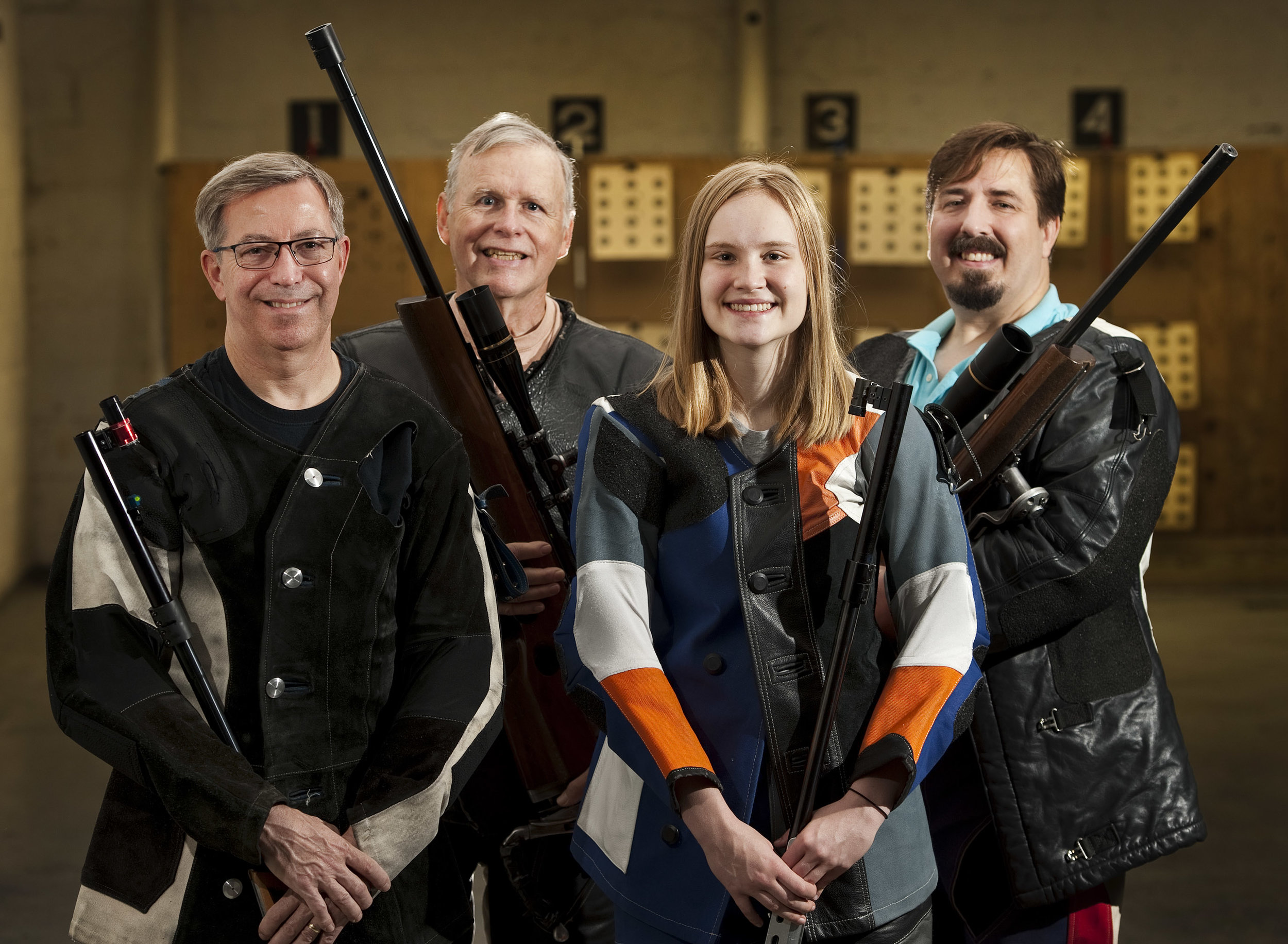 Members of the Dormont-Mt. Lebanon Sportsmen's Club rifle team from left to right, Tom Benedict of Sewickley, John Funk of Murrysville, Cassidy Fairman of Indiana and Dean Trew of Bentleyville pose for a portrait on Saturday, July 9, 2016. The team recently won a national title in indoor smallbore rifle shooting.