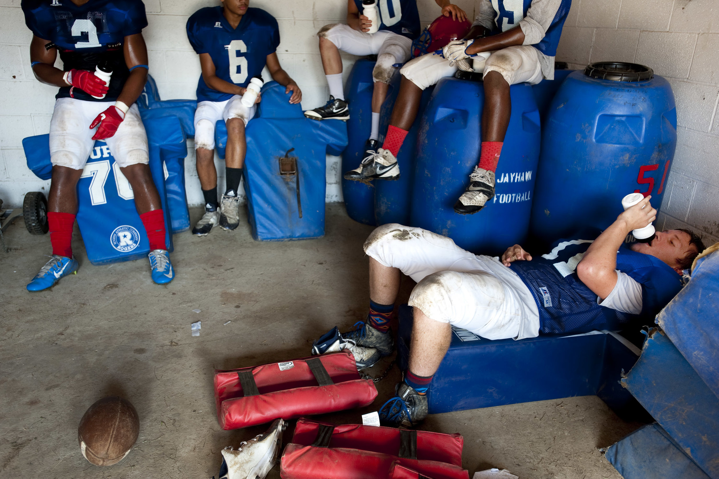 Jeannette Jayhawk Shayne Darling takes a water break with his teammates during the first day of WPIAL football practices on Monday, Aug. 15, 2016. The first game of the regular season is Friday, Sept. 2.