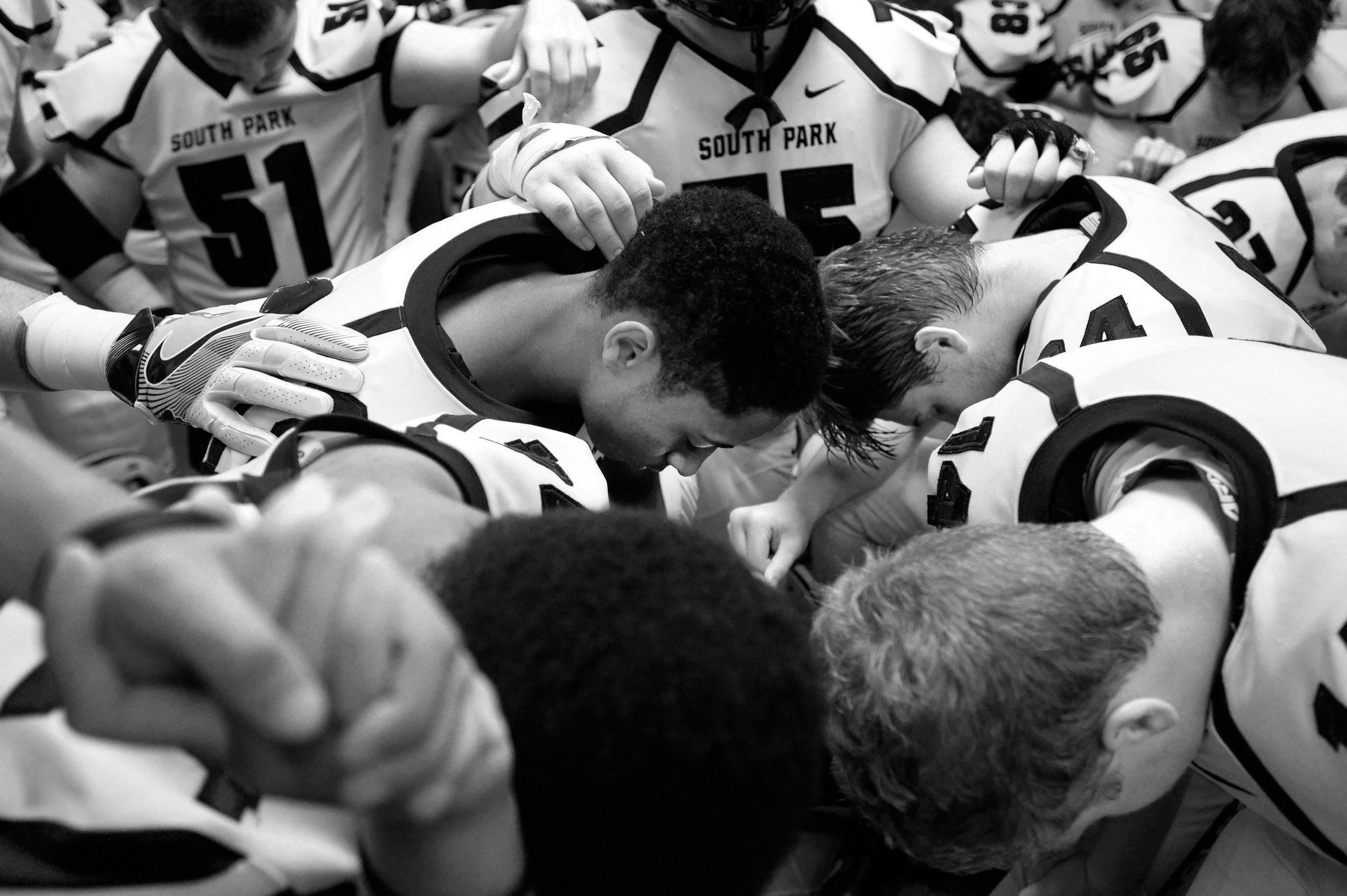 South Park gathers for a prayer before playing Derry on Friday, Sept. 23, 2016 during a football game at Derry Area High School. Derry won 35-23.