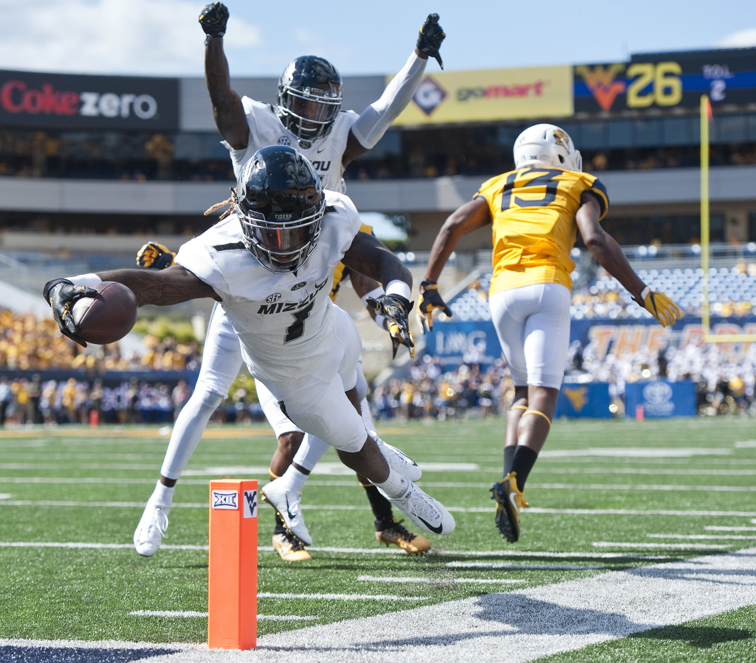 Missouri wide receiver Chris Black #1 dives into the end zone for a touchdown against West Virginia during an NCAA football game on Saturday, Sept. 3, 2016 at Milan Puskar Stadium in Morgantown, W.Va. WVU won 26-11.