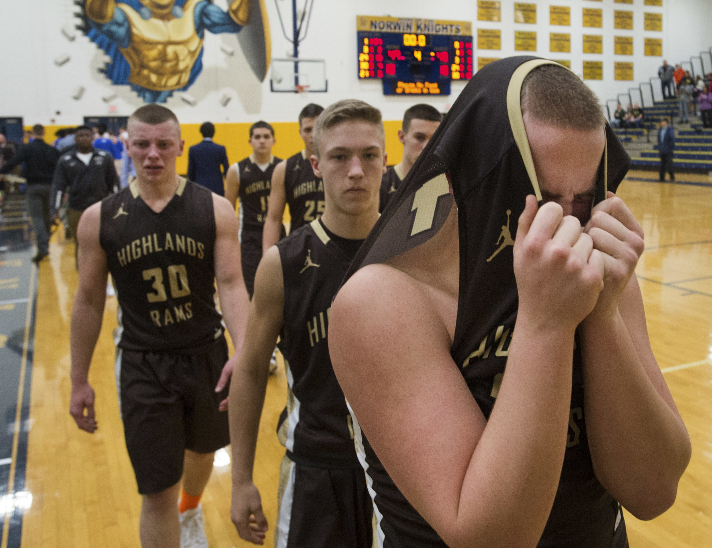 Highlands' RJ Rieger reacts after his team's 49-48 loss to Laurel Highlands during a WPIAL playoff game at Norwin High School in North Huntingdon, Pa. on Tuesday Feb. 21, 2017. (Steph Chambers | Tribune-Review)