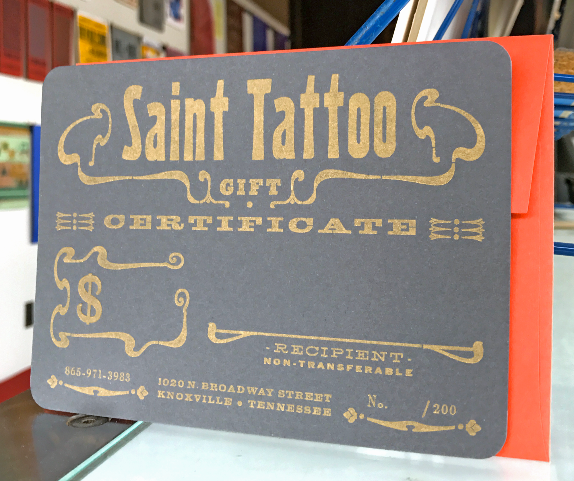 Handset Gift Certificates for Saint Tattoo - Knoxville TN
