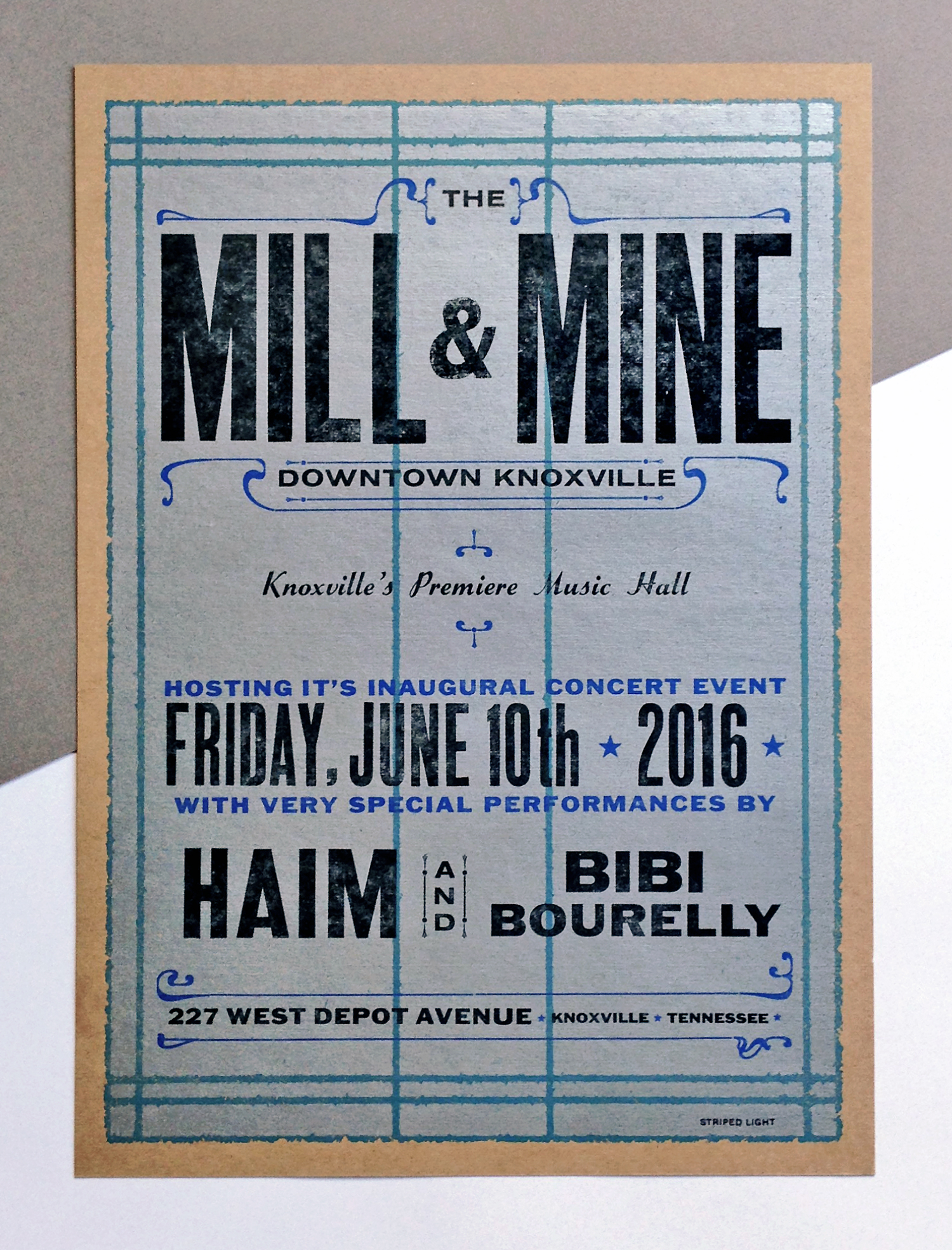 Four color handset poster by B.Baker. Hand printed on chipboard for the grand opening of the Mill & Mine - Knoxville TN