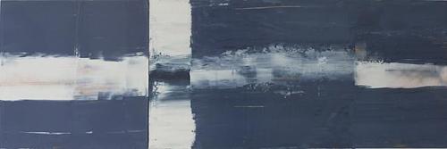 """Skate 2011, oil on birch (30x90"""") by Jeffrey Keith"""