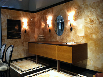 KR+H's vignette at United Marble's Boston Design Center showroom