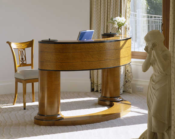 The desk made by KR+H with Biedermeier details for our customer's contemporary home. Photograph by Brian Vanden Brink.
