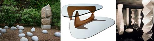 Isamu Naguchi's garden sculpture, table, and lighting.