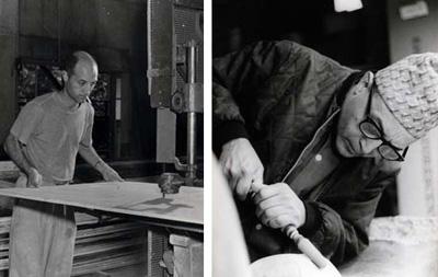 Isamu Noguchi at work.