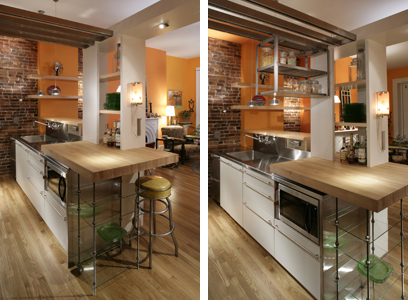Two views to show how the trolleys above the fridge extend into the workspace.
