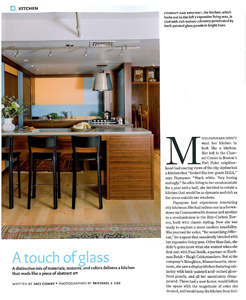 """Design New England March/April 2013, """"A touch of glass."""" Kitchen design by Paul Reidt."""