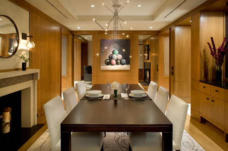 KR+H installers' work is very evident in the dining room where they installed the paneling, built-in cabinetry, and pocket doors.