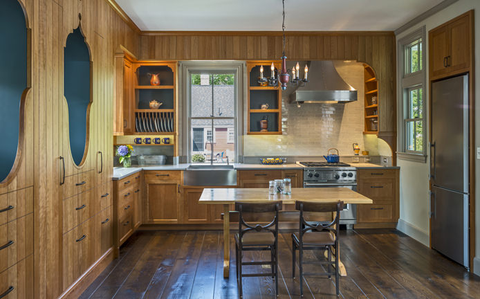 A gem of a kitchen inspired by the homeowners and the history of this barn. Photo by Richard Mandelkorn.