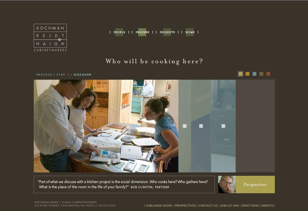 A page from KR+H's first website with Kelsh Wilson Design. Still beautiful!
