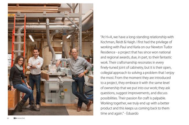 KR+H's Karla Monkevich, H+A Designer Eduardo Serrate, and KR+H's Paul Reidt in our shop.