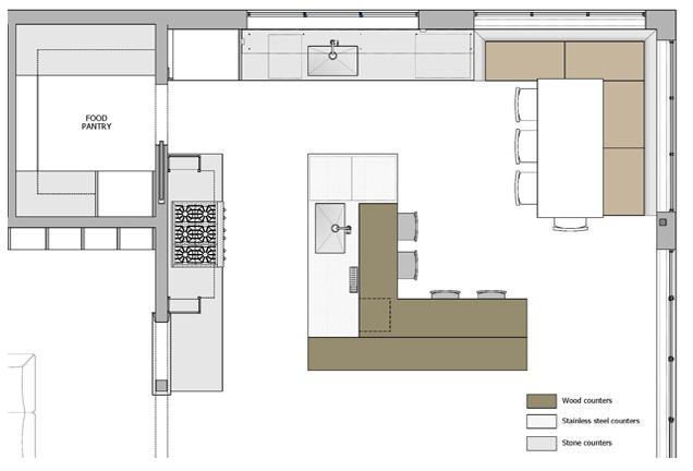 KR+H's floor plan of the kitchen