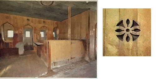 """Here's a snap (left) taken before renovation began. The horse stalls are in the background. You can get a sense of the wonderful details in the openings to the stalls.The """"flower"""" (right) was cut out above each stall door."""