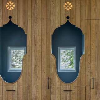 KR+H designed and made cabinetry in the kitchen that honored the lovingly made horse stalls (see above photo).