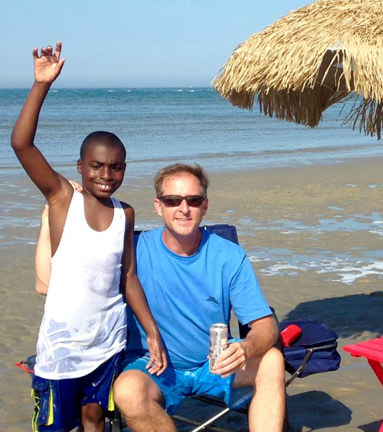 Zaire with Andy at the beach