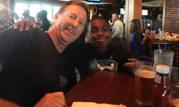 Andy and Zaire...waiting for the biggest, baddest burger!