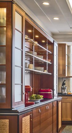Kitchen cabinet with glass, metal, Red birch, Makore counter, and curly maple panels.