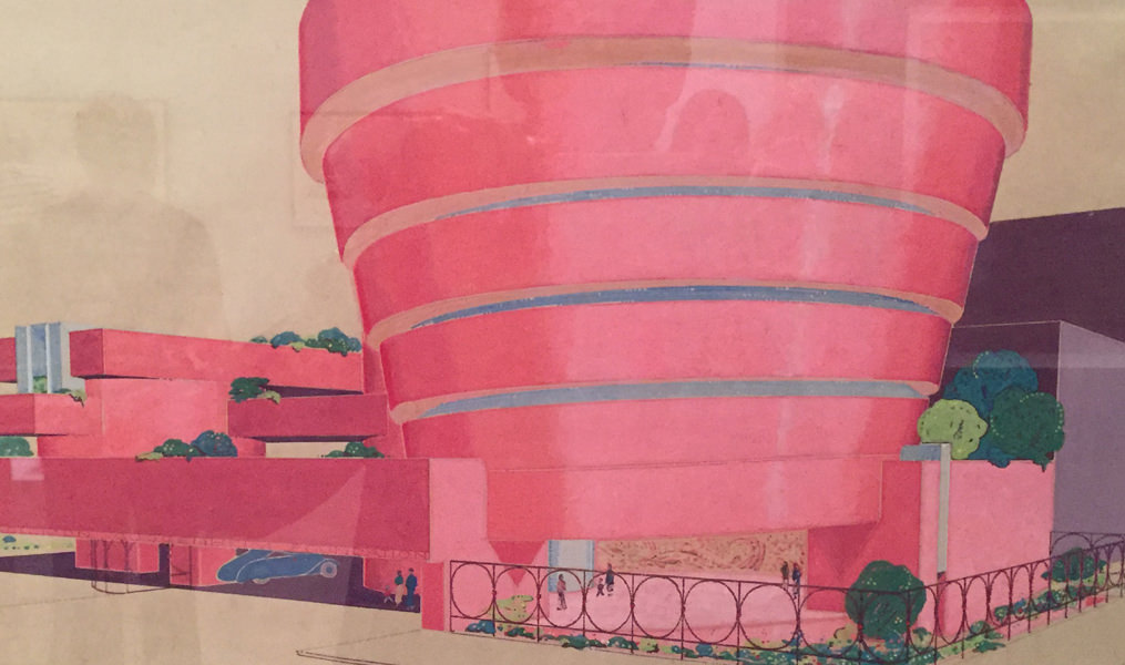 Close-up of architectural drawing of the Guggenheim. Paul was surprised at its pinkness!