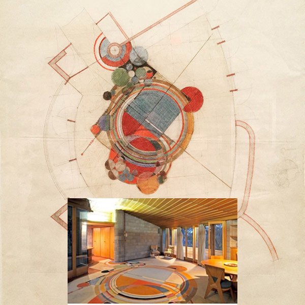 Here's Paul's photo of a graphic illustration of an FLW rug design with bold graphic shapes. The inset shows the finished run in the living room of David (his son) and Gladys Wright.