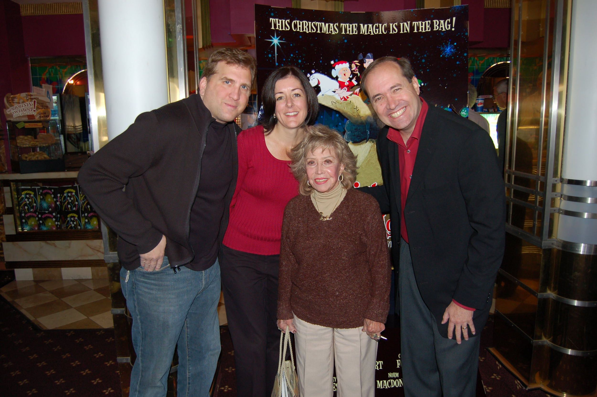 Daniel Roebuck, Ashley Postlewaite and Darrell Van Citters pictured with June Foray, a legendary voice actress best known for the voice of Rocky the Flying Squirrel.