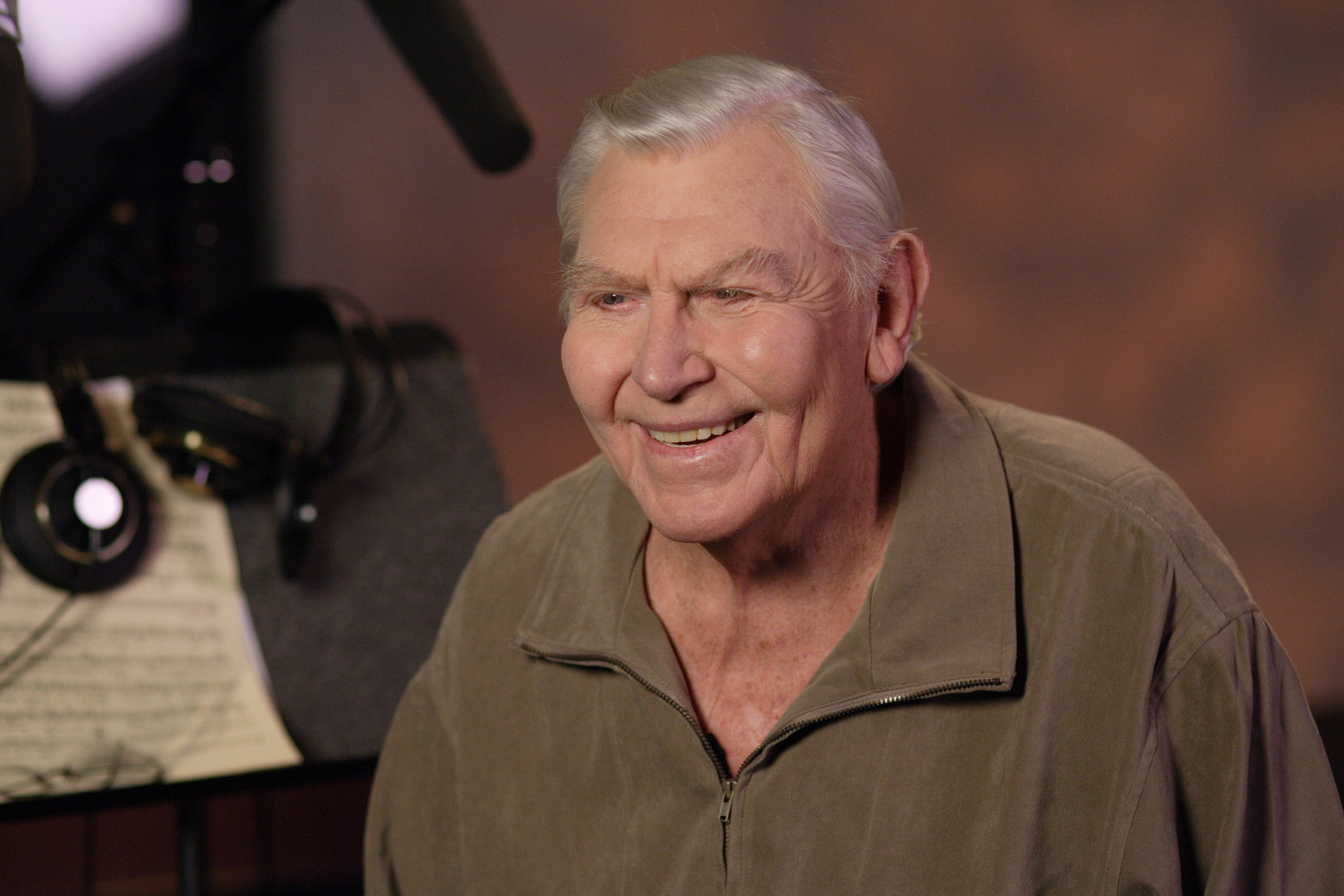 Andy Griffith (Santa) smiles for the camera during an interview for the behind the scenes video.