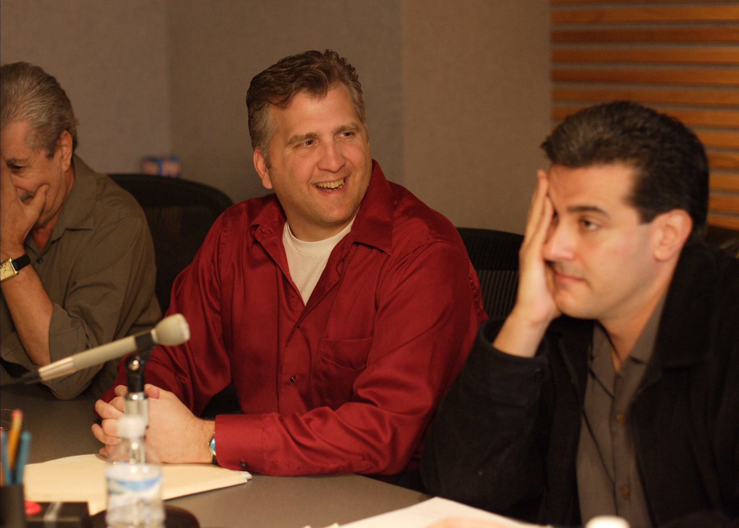Daniel Roebuck smiles listening to his record as head elf, Paul Rocco, while Robert Zappia (Writer, Director, Producer) listens in frustration. All in good fun, of course, as this was a bit recorded for the Dan Roebuck - Method Actor video.