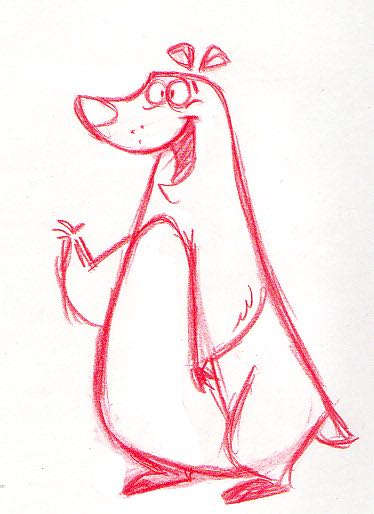 Here is Charlee the polar bear in his early sketch phase. He would later be voiced by Brad Garrett.