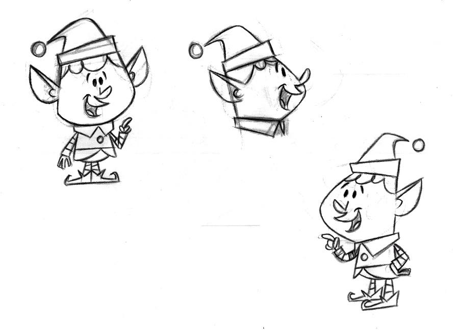 A few poses for head elf, Paul Rocco, who would later be voice by Daniel Roebuck