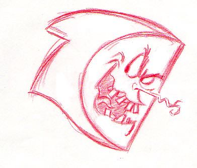 """I'm evil, that's what I am!"" It's the selves leader, Krad in early sketch phase (notice the different noses between these different sketches). Krad would later be voiced by Ed Asner."