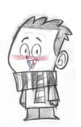 An early sketch of Michell who would later be voiced by Paul Zappia.