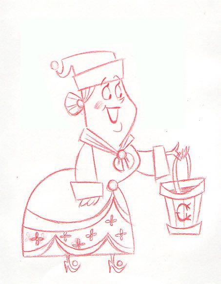 It's Easy to Dream! An early sketch of Mrs. Claus who would eventually be voiced by Shirley Jones