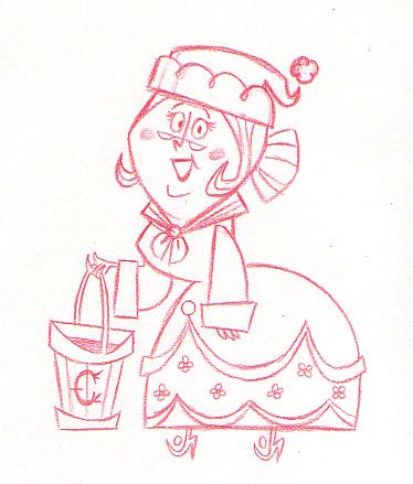 It's Easy to Dream! An early sketch of Mrs. Claus who would eventually be voice by Shirley Jones