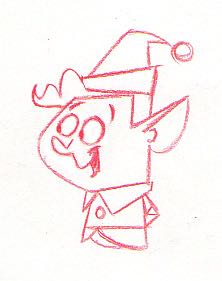 An early sketch of lead elf, Paul Rocco, who would later be voiced by Daniel Roebuck