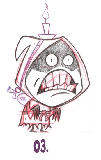 Krad's evil minions are known as the selves. Here is an early sketch of one of them. Don't make Santa's naughty list, or you, too, may end up becoming a self!