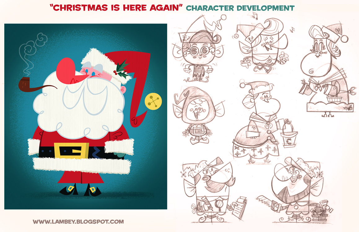 Ho! Ho! Ho! Here are some early sketches of the Santa Claus design who would eventually come to animated life with carrying the voice of Andy Griffith