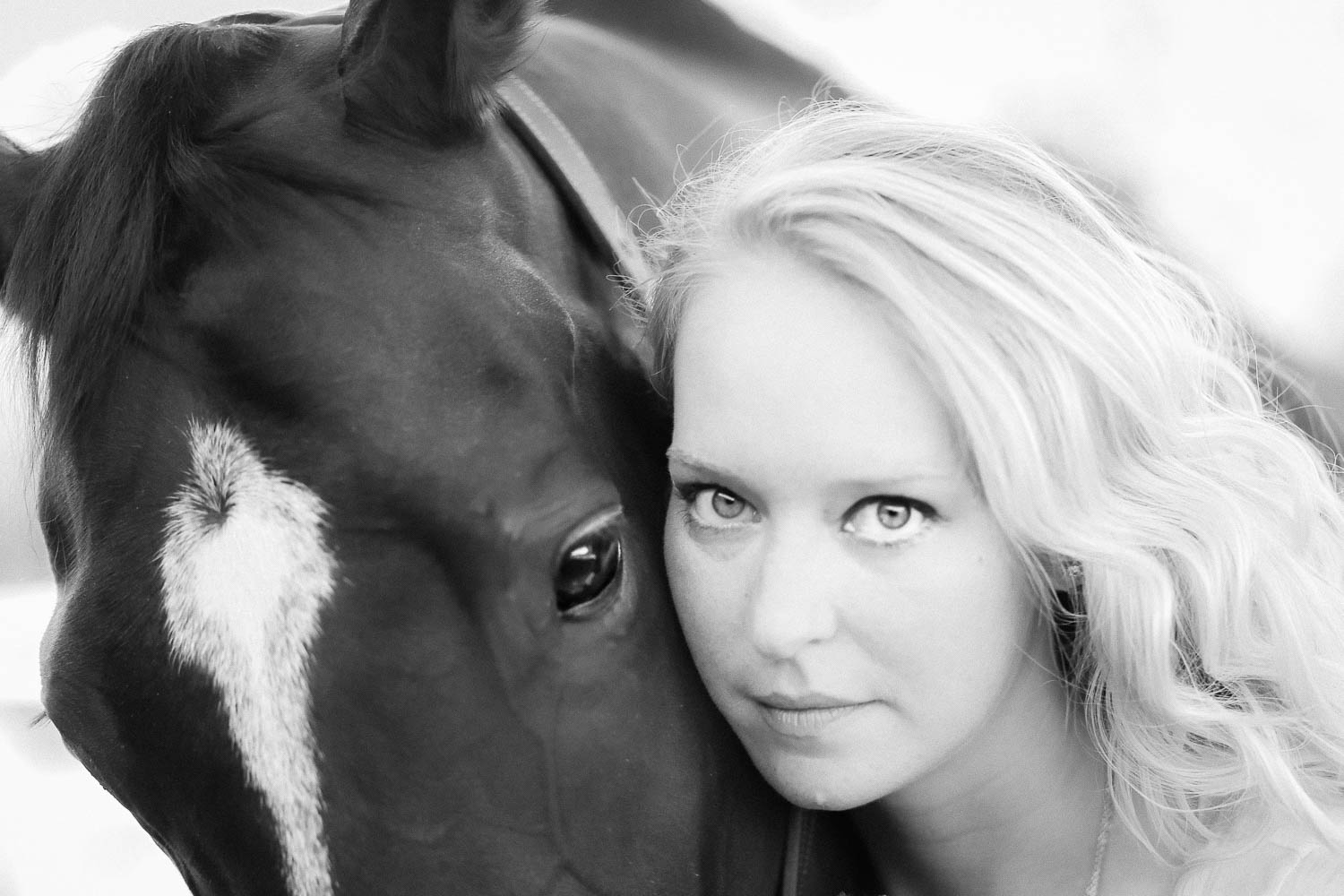 ottb equine portrait with beautiful woman at double H stables in stillwater