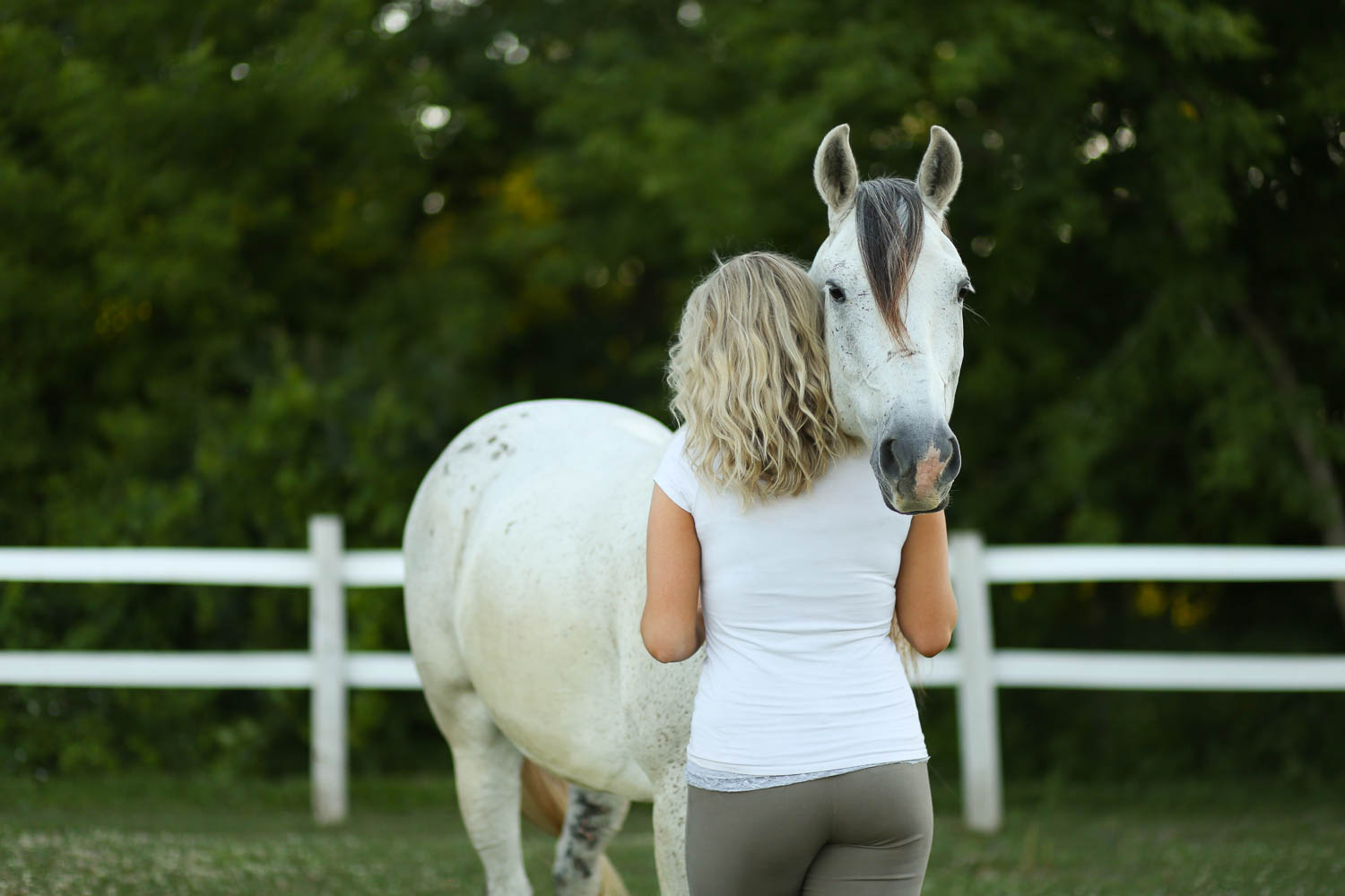 azteca horse with beauiful woman at double H stables in stillwater minnesota