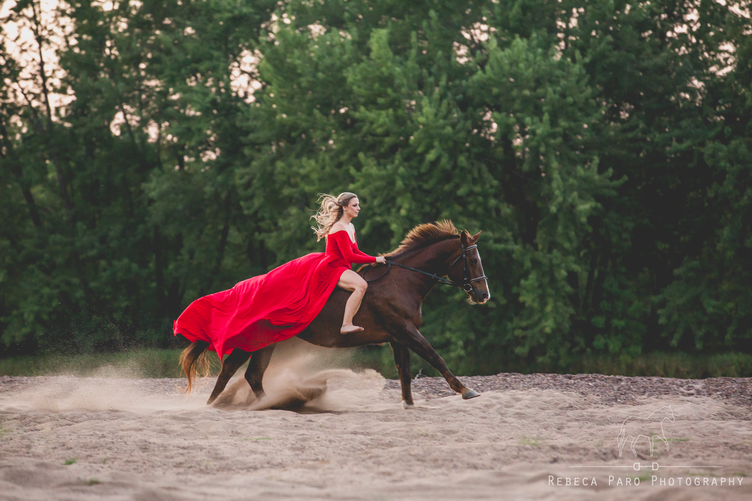 Red dress and horse on beach