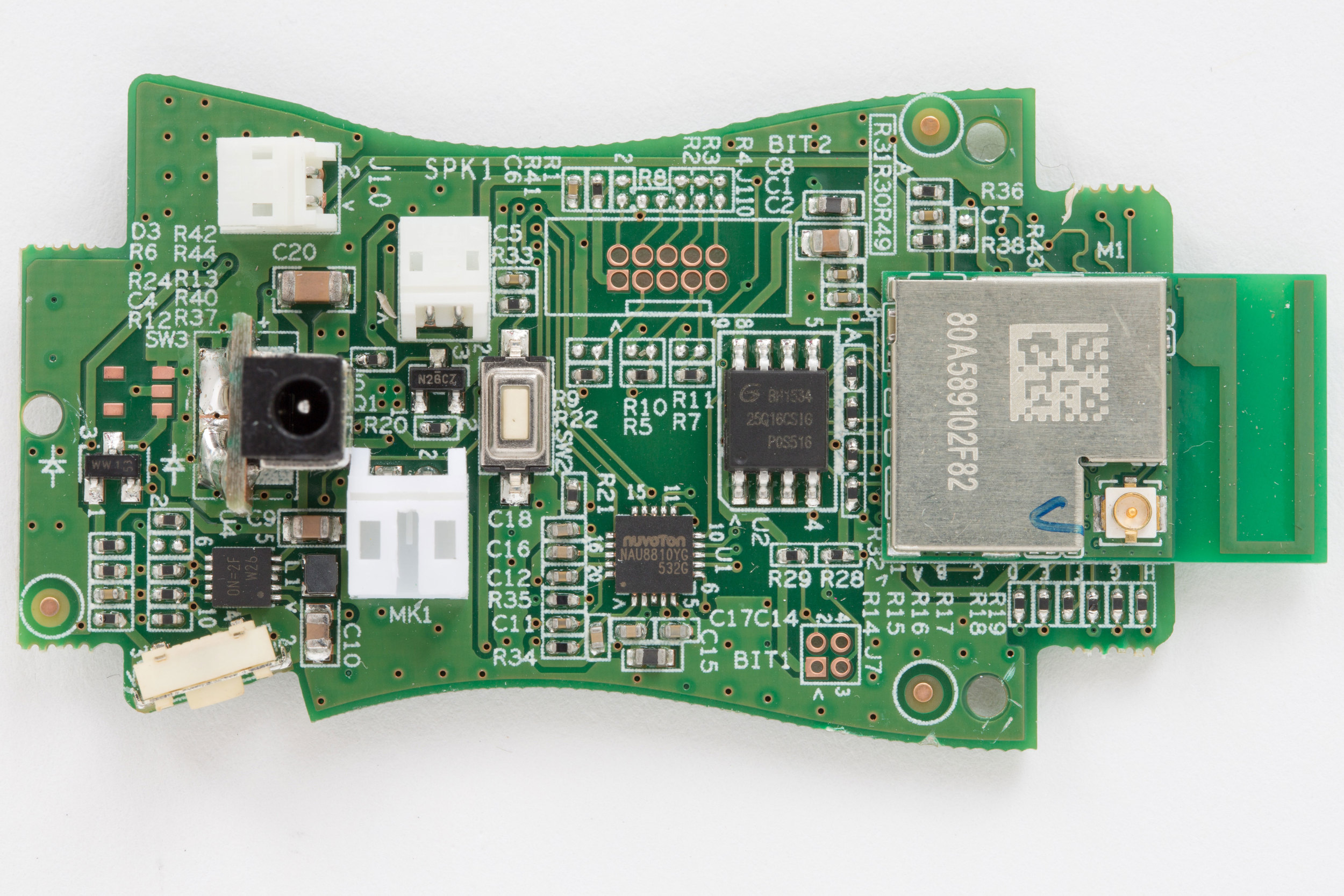Hello Barbie main circuit board. Front side. Showing Wi-Fi module, flash memory, audio codec, and debugging headers.